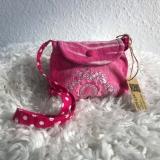 Upcycling Kindertasche aus rosa Babycord, Umhängetasche Mädchen (Variante Pailetten)